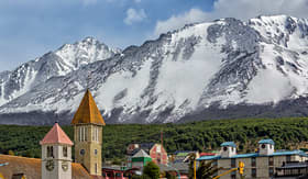 Crystal Cruises snowy Andes Mountains in Ushuaia Argentina
