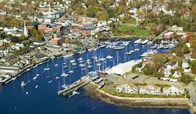 Cunard Line aerial view of Bar Harbor in autumn Maine