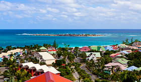 Cunard Line beautiful blue water and colorful houses in St Maarten
