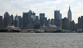 Cunard Line Cunard ships docked in New York port