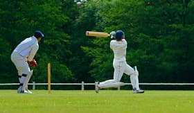 Cunard Line two cricket players during a match