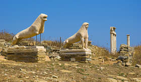 Cunard Line view of ancient lions on Delos