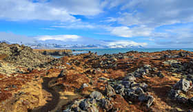 Cunard Line view of Iceland landscape and nature