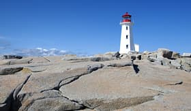 Cunard Line view of Peggys Cove lighthouse