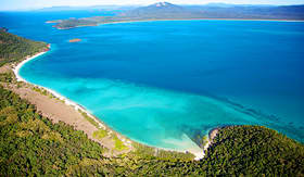 Cunard Line Whitsundays aerial landscape view in Queensland Australia