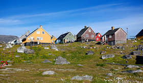 Expedition Cruise Colorful homes of Nanortalik City, Greenland