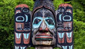 Holland America Line carved totem pole in Ketchikan Alaska