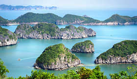 Holland America Line limestone islands in Halong Bay Vietnam