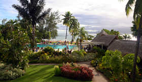 Holland America Line tropical resort and pool with people and palm trees