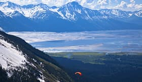 Holland America Line view from Mount Alyeska with hang glider
