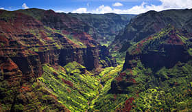 Holland America Line view of Waimea Canyon from the air in Kauai
