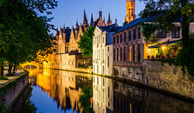 Holland America Line water canal Medieval House in Bruges