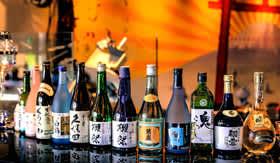 Sake Bottles on Bar
