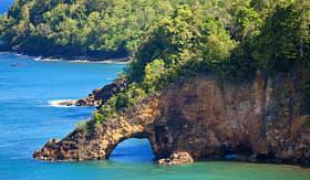 MSC Cruises land bridge over ocean, St. Lucia, Caribbean