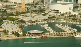 Norwegian Cruise Line Aerial View of the Bayside Shopping Mall in Miami, Florida