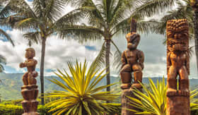 Norwegian Cruise Line Wooden Polynesian tiki carvings on Oahu Hawaii