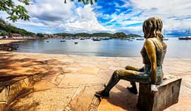 Oceania Cruises Statue of Brigitte Bardot in Buzios Harbor in Brazil
