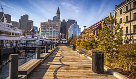 Princess Cruises Boston Harbor and financial district in Boston Massachusetts