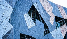 Princess Cruises building patterns close up in Fed Square Melbourne