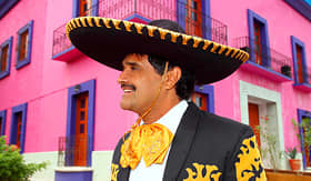 Princess Cruises Charro Mexican mariachi portrait in pink Mexico house