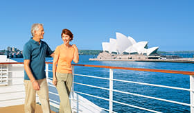 Princess Cruises couple onboard passing the Sydney Opera House