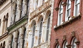Princess Cruises facades of old buildings in downtown Halifax Nova Scotia Canada