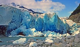Princess Cruises freshly exposed glacial ice in the Mendenhall Glacier in Alaska
