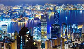 Princess Cruises Hong Kong city by night