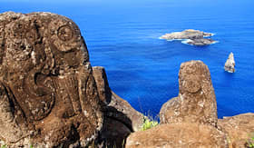 Princess Cruises horizontal image of petroglyphs at Orongo Village Easter Island