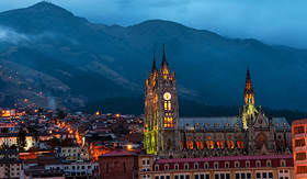 Princess Cruises night time view of the Basilica and old town in Quito Ecuador