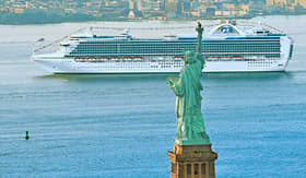 Princess Cruises ship passing by Statue of Liberty