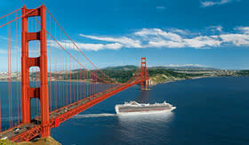 Princess Cruises ship passing under the Golden Gate Bridge