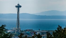 Princess Cruises view of famous symbol of Seattle Space Needle