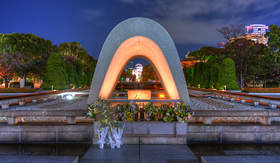 Regent Seven Seas Cruises atomic dome can be seen at Peace Memorial Park in Hiroshima Japan