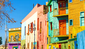 Regent Seven Seas Cruises bright colors of Caminito Street in La Boca neighborhood of Buenos Aires Argentina