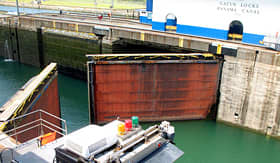 Royal Caribbean gates opening in the Gatun Locks of the Panama Canal