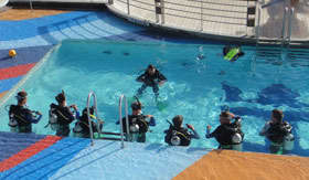 Royal Caribbean International onboard activities Scuba in the Pool