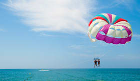 Royal Caribbean parasailing over tropical waters
