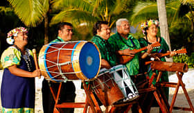 Royal Caribbean polynesian band with drums and ukeleles