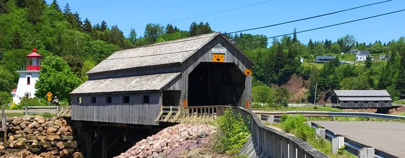 Covered bridges and lighthouse of Saint John, New Brunswick