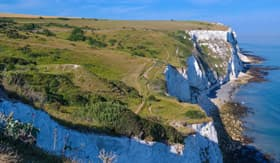 Picturesque white cliffs in Dover
