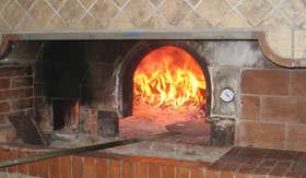 A classic brick pizza oven