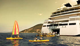 Kayaking adventures off a Seabourn watersports deck