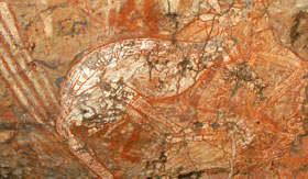 Aboriginal Artwork on side of Cave in Darwin