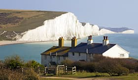 Seabourn Coast Guard cottages and  Seven Sisters just outside Eastbourne England