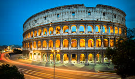 Seabourn Colosseum in Rome Italy at night