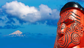 Seabourn Maori carving with Mount Taranaki, New Zealand