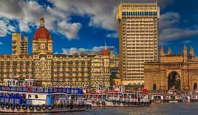 Outward Shot of Mumbai skyline and gateway to india