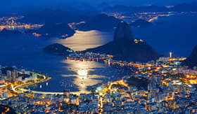 Seabourn night view of mountain Sugar Loaf and Botafogo in Rio de Janeiro
