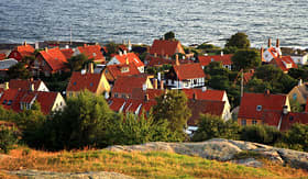 Silversea Cruises Gudhjem town with red roofs Bornholm Denmark